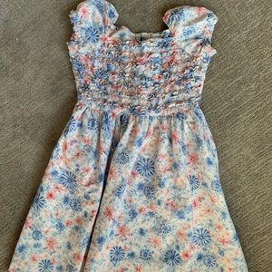 Lands end red white and blue flower ruffle dress